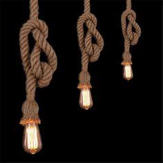 Retro Vintage Rope Pendant Light Lamp