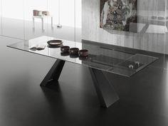 Tavolo allungabile in vetro con gambe in metallo Nearly