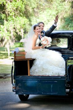 Love the old truck as the get away car! and great for engagement/wedding photos