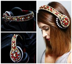 RHINESTONE HEADPHONES Dolce Style Dolce Crown Gold Crown Woman embellished headphones Black and Red by Elviejewelrydreams on Etsy https://www.etsy.com/listing/460190060/rhinestone-headphones-dolce-style-dolce
