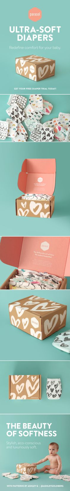 Parasol Co Diaper Subscription Free Trial Box on Behance PD