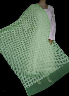 ISHIEQA's Green Georgette Chikankari Dupatta - KL0311D White Chiffon, White Cotton, Black B, Thread Work, Green Fabric, Hand Embroidery, Purple, Pink, Cover Up