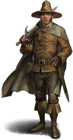 Swordsman in plain brown clothes with a wide-brimmed tall hat.