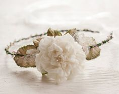Bridal Flower Crown Ivory Silk Rose Lace Pink Berry Wedding Circlet Rustic Chic Boho Wedding Halo Floral Head Wreath Hair Garland
