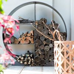 Steel Circle Log Holder up for Pre Order | #Anthropologie #Terrain #Fall