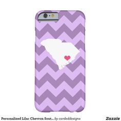 Personalized Lilac Chevron South Carolina Heart Barely There iPhone 6 Case
