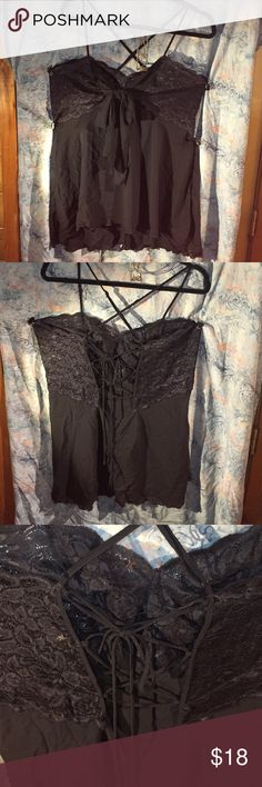 """Torrid Size 2 Strappy Lace Nightgown EUC Sexy and lacy. Approximately 25"""" from top of lace at strap in front to hem. Bow in front, and ties in the back. This one is a little complicated to get into because of all the straps. Just remember the bow goes in the front and the straps cross on your back. Comes from a smoke free, pet friendly home. Please feel free to ask questions or for more pictures. Price is firm. Bundle for further discounts. NO OFFERS, NO TRADES. I video outgoing orders for…"""