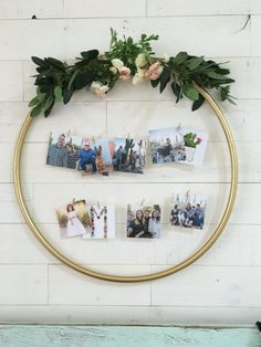 DIY Hula Hoop Photo Display   Check out this easy hula hoop photo display idea! Such a creative way to display pictures with unique items!