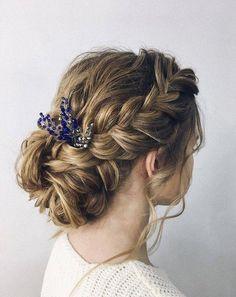 Navy hair piece Bridesmaid hair pin Winter rustic wedding hair comb Bridal headpiece Prom hair acces - Hairstyles For All Short Wedding Hair, Hair Comb Wedding, Bridal Hair, Trendy Wedding, Wedding Up Do, Wedding Navy, Sapphire Wedding, Blue Bridal, Wedding Bride