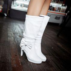 Bowtie Mid Calf Boots High Heels Spike Heel Shoes Woman