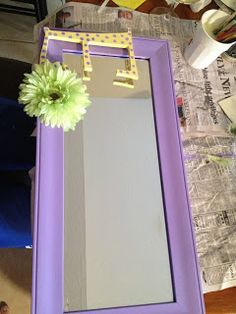 DIY monogrammed mirror..would be cute for a kids room