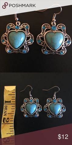 Turquoise drop earrings boho vintage style 💙Heart shaped turquoise earrings💙 New without tags Jewelry Earrings