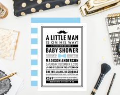 Little Man Baby Shower Invitation by fineanddandypaperie on Etsy