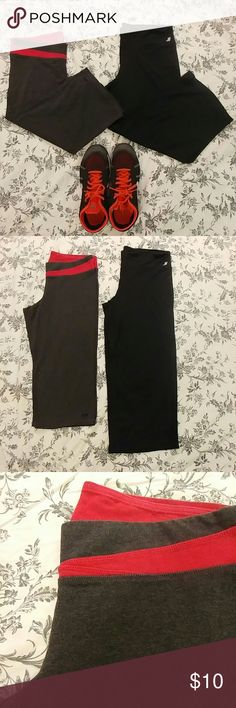 """Athletic crop pants (L) Athletic crop paints. Size Large. One pair, dark grey and pink (roughly 26"""" long), one pair black (roughly 30"""" long). Good condition, worn a few times. Pants Ankle & Cropped"""