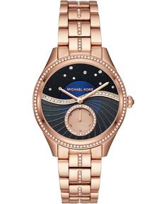 MSP: 742158,390,000 VNĐBeautifully set with crystals on bracelet, case and dial, this divine Lauryn watch by Michael Kors features a sub-second dial set in a wave of texture below a starry sky.Movement: quartzCase: round; 38mmStrap: rose gold-tone & crystal pavé bracelet with deployant clasp; approx. adjustable circum.: 175mmDial: celestial-inspired blue sunray multifunction with fan texture overlay and crystal pavé motifWater resistance: to 50 meters