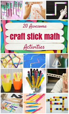 20 Awesome DIY Craft Stick Math Activities for Kids. Math Activities For Kids, Fun Math Games, Math For Kids, Kids Learning, Math Games For Preschoolers, Math Classroom, Kindergarten Math, Teaching Math, Craft Stick Crafts