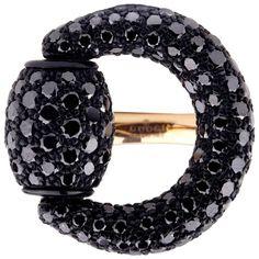 f9f1437534d Gucci Black Diamond Horsebit Rose Gold Ring