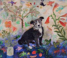 "UK - ""Dad's Dog"" by Anna Pugh, one of England's leading folk art painters, b.1938"