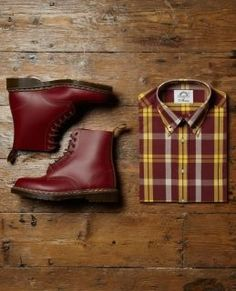 "Mark ""Ginger"" Hopley outfit - this brutus shirt with dark braces, dark blue jeans turned up with oxblood DM's (Mod Skinhead style)"