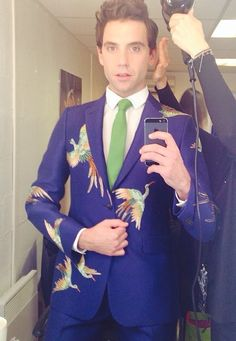 """from Mika Instagram account """"Tonight's suit from The Voice by Valentino"""" April 2014"""