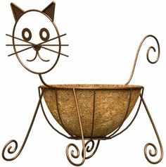Panacea 86655 Cat Planter with 10-Inch Coco Liner, 16-Inch Height, Rust Powder Coated Finish
