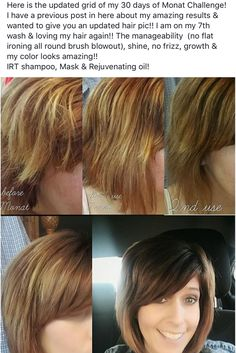 Wow what a difference! Check out her before and after with Monat. Real results. Healthy hair wit Monat anti aging hair care. Guaranteed to bring your hair back to life.