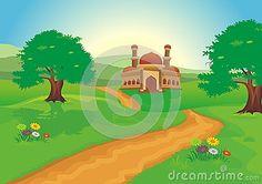 Mosque with beautiful natural scenery – cartoon design, beautiful view, pretty… Moske med vakker natur – tegneseriedesign, vakker utsikt, vakker Islamic Cartoon, Natural Scenery, Cartoon Design, Mosque, Climbing, Beautiful Places, Illustration, Pretty, Nature
