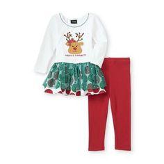 Holiday Editions- -Infant & Toddler Girl's Christmas Tunic & Leggings - Reindeer
