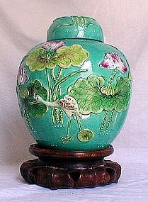 This Fine Relief Carved 19th Century Chinese Porcelain Ginger Jar Is A Bingrong Masterpiece