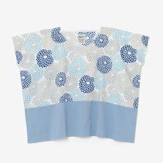 Square Tops Chrys Burst Sky Blue Chizimi Cotton : SOU • SOU US Online Store