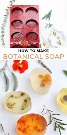 These botanical soap bars are decorated with flowers, herbs, and leaves found in the garden. See the step-by-step instructions for how to make them at home. #gardentherapy #flowers #naturalbeauty #naturalskincare #soap #diy Natural Healing, Bar Soap, Herbal Remedies, Soap Making, Garden Projects, Apothecary, Natural Skin Care, Soaps, Shea Butter
