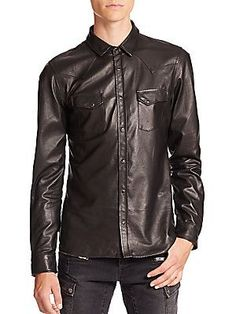 The Kooples Leather Shirt in black