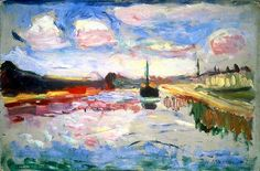 """The Canal du Midi""  --  1898  --  Henri Matisse  --  French  --  Oil on board  --  Museo Thyssen-Bornemisza"