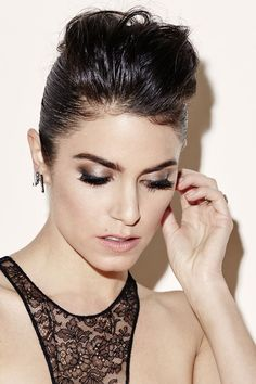 Nikki Reed's metallic smoky eye and soft pink lip are the definition of beauty goals