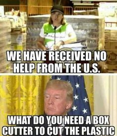 This idiot said no aid was being received while being photographed in front of pallets of supplies!