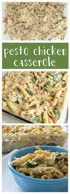 This Pesto Chicken Casserole recipe is creamy and delicious!