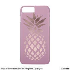 elegant clear rose gold foil tropical pineapple iPhone 7 plus case