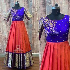 Saree Blouse Neck Designs, Half Saree Designs, Dress Neck Designs, Stylish Dress Designs, Lehenga Designs, Half Saree Lehenga, Lehnga Dress, Saree Gown, Long Gown Dress