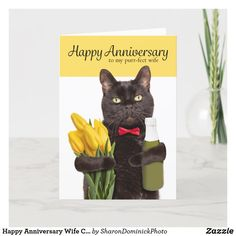 Happy Anniversary Wife Cute Cat With Flowers Holid Holiday Card Happy Anniversary Wife, Anniversary Greeting Cards, Sons Birthday, Birthday Cards, Happy Birthday, Holiday Cards, Christmas Cards, Zazzle Invitations, Photo Cards
