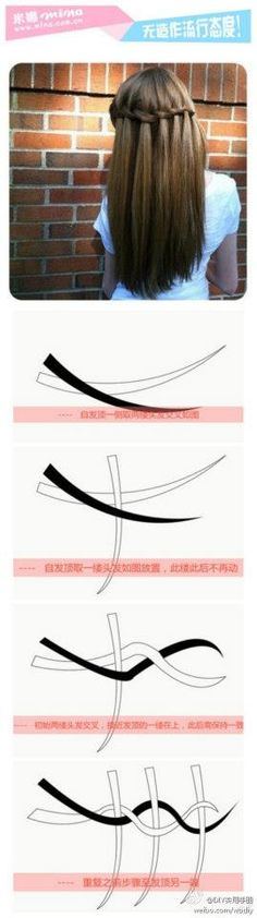 Waterfall Braid. Need Google Translate though because its in Chinese. THIS DIAGRAM MAKES IT SUPER EASY TO UNDERSTAND.