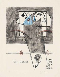 Le Corbusier (1887-1965) Les Oiseaux, from Unité etching and aquatint in colours, 1953, on Rives paper, signed and inscribed 'Unité' in pencil, numbered 48/130, the full sheet, in good condition P. 420 x 315 mm., S. 573 x 453 mm.