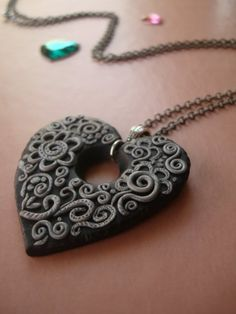 Sparkling Night Polymer Clay Necklace by MonkeyJune on Etsy, $35.00