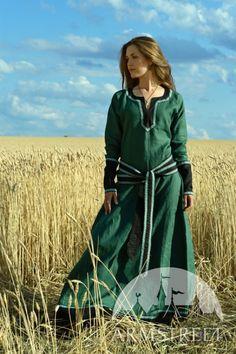 Tunique féminine longue médiévale en lin naturel ArmStreet
