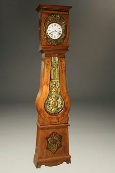 Late 19th century French Comtoise/Morbier tallcase clock with handpainted case, circa 1890. #antique #clock