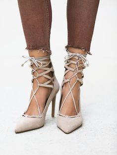 Jeffrey Campbell - Suede stilettos that lace up over the ankle and zip up the back for easy on-off.,,,☮♥♓ *By Jeffrey Campbell