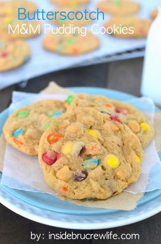 Butterscotch M&M Pudding Cookies - butterscotch pudding cookies with M&M candies and butterscotch chips