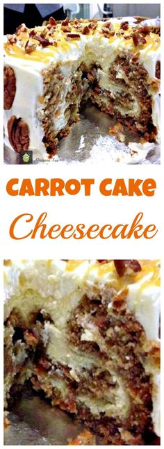 Carrot Cake Cheesecake. Simply a Show Stopping Wow! A great cake for any occasion and would also be a lovely cake for Easter, Christmas or Thanksgiving too! | Lovefoodies.com via @lovefoodies