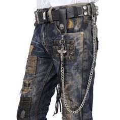 Men Black Metal Leather Cyber Goth Punk Rock Fashion Jeans Pants Chain  SKU-71117015