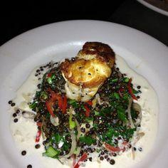 Seared monkfish with Lychee, and Beluga Lentils - Chef Erik MacMurray