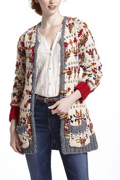Neo-Fairisle Cardigan- This looks so comfortable, a classic knit pattern.